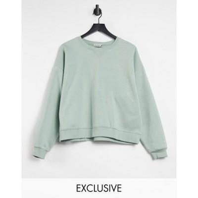 ストラディバリウス レディース シャツ トップス Stradivarius organic cotton crew neck sweatshirt in sage green
