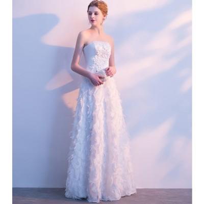 ロングドレス ウェディングドレス 大きいサイズ 二次会ドレス 花嫁ドレス 大きいサイズ パーティー 演奏会 イブニングドレス カラードレス 成人式[ホワイト]