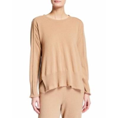 ステラマッカートニー レディース ニット・セーター アウター Cashmere-Wool High-Low Crewneck Sweater CAMEL