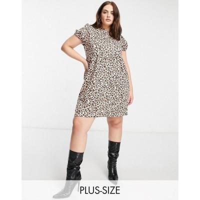 ストリート コレクティブ Street Collective Curve レディース ワンピース Aライン jersey tiered smock dress in leopard print レオパード