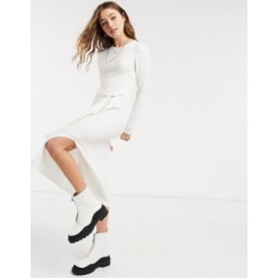 エイソス レディース ワンピース トップス ASOS DESIGN knitted rib long dress in cream Cream