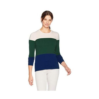 Lark & Ro Women's Crewneck Pullover Cashmere Sweater, Ivory/Bottle Green/Na
