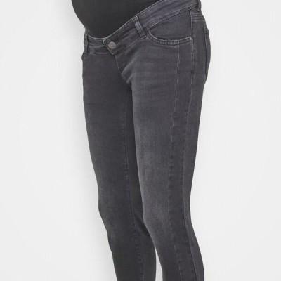 レディース スリム MLLOTUZ CROPPED - Slim fit jeans - black denim/wash