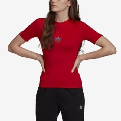 (取寄)アディダス レディース オリジナルス 3D トレフォイル Tシャツ  Women's adidas Originals 3D Trefoil T-Shirt Scarlet