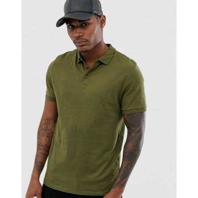 エイソス 半袖Tシャツ メンズ ASOS DESIGN organic jersey polo in khaki エイソス ASOS