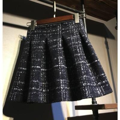 ツイード スカート ミニ丈 ポリエステル ブラック チェック 格子柄 フレア プリーツスカート ソフトプリーツ ハイウエスト 着やせ キュート かわいい シック