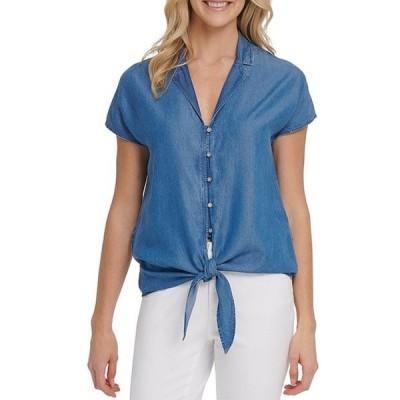 ダナ キャラン ニューヨーク レディース シャツ トップス Jeans Chambray Denim Notch Collar Short Sleeve Tie Hem Button Front Top