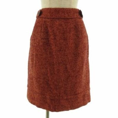 【中古】ロートレアモン LAUTREAMONT スカート ひざ丈 ツイード モヘア混 オレンジ系 赤 38 レディース