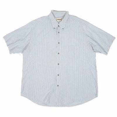 【中古】マックレガー マクレガー McGREGOR ストライプ柄 シャツ ボタンダウン 半袖 ライトブルー ◎8 メンズ