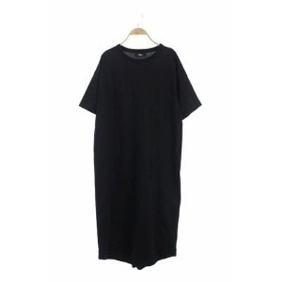 【中古】ザ リラクス THE RERACS Tee Dress ワンピース Tシャツ ロング マキシ 半袖 F 黒 ブラック /ES ■OS
