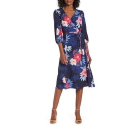 エリザジェイ ワンピース トップス レディース Floral Print Faux Wrap Midi Dress Navy