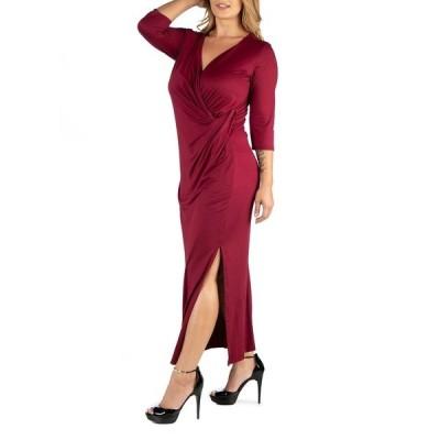 24セブンコンフォート ワンピース トップス レディース Ankle Length Side Slit Formal Plus Size Maxi Dress Dark Red