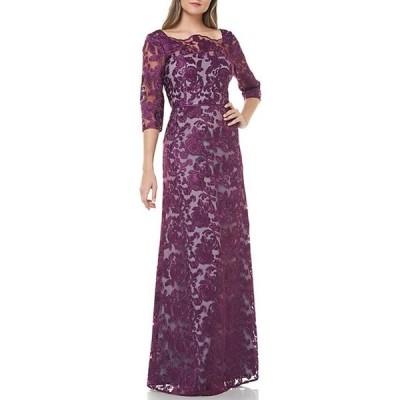 ジェイエスコレクションズ レディース ワンピース トップス Illusion Bateau Neck Embroidered Gown