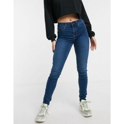 ピーシーズ Pieces レディース ジーンズ・デニム ボトムス・パンツ shape up mid waist jeans in blue ミディアムブルーデニム