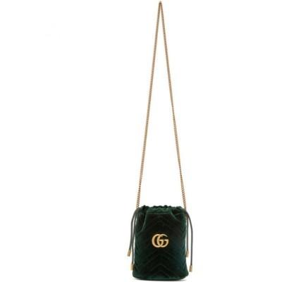 グッチ Gucci レディース バッグ Green Velvet GG Marmont Bucket Bag Dark green