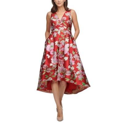 エリザジェイ ワンピース トップス レディース Petite High-Low Fit & Flare Dress Red Floral