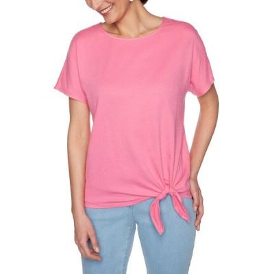 ルビーロード Tシャツ トップス レディース Women's Color Crush Crinkle Tie Front Knit Top -