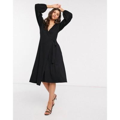 エイソス レディース ワンピース トップス ASOS DESIGN midi dress with wrap front in black Black