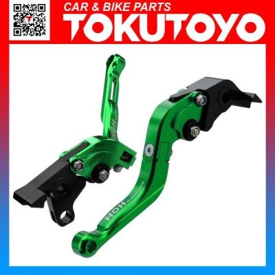 V-MAX 1700/MT-01に 6段階アジャスター式 ブレーキ&クラッチ レバーセット 長さ調整可 可倒式 緑 左右セット TOKUTOYO(トクトヨ)