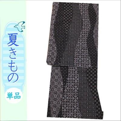 洗える着物 絽 紗 小紋 Mサイズ 夏着物 黒地に幾何学柄