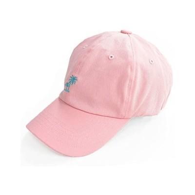 [クリサンドラ] 帽子 キャップ メンズ スポーツ ゴルフ ブランド 無地 デニム ローキャップ (パームツリー ピンク Free Size)