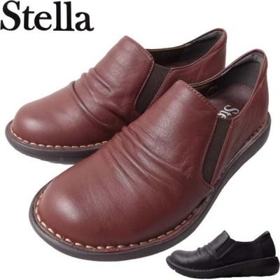 Stella 8010KW ステラ レディース スリッポン シューズ くしゅくしゅ ゴム クッション ふかふか EEE 3E フィット 本革 ブラック 24.5cm ラスト1足