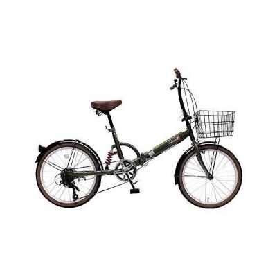 トップワン(TOP ONE) 20インチ折畳み自転車 シマノ外装6段ギア リアサスペンション カゴ・カギ・ライト付 オリー