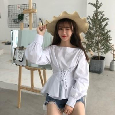 長袖 コルセット Tシャツ 2018年春夏