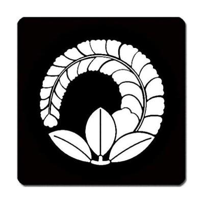 家紋 捺印マット 片手藤紋 11cm x 11cm KN11-3663W 白紋