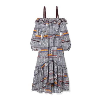 レムレム LEMLEM 7分丈ワンピース・ドレス ダークブルー S コットン 100% 7分丈ワンピース・ドレス
