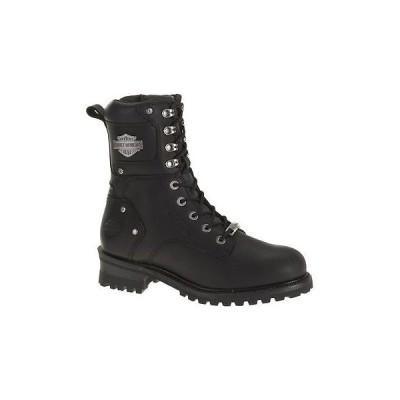 メンズ シューズ ブーツ ハーレーダビッドソン Harley-Davidson Mens Elson Black Leather Motorcycle Boots. D93243