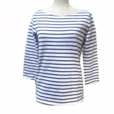 【中古】マカフィー MACPHEE トゥモローランド カットソー バスクシャツ ボーダー 7分袖 七分袖 青 白 ブルー ホワイト バックリボン