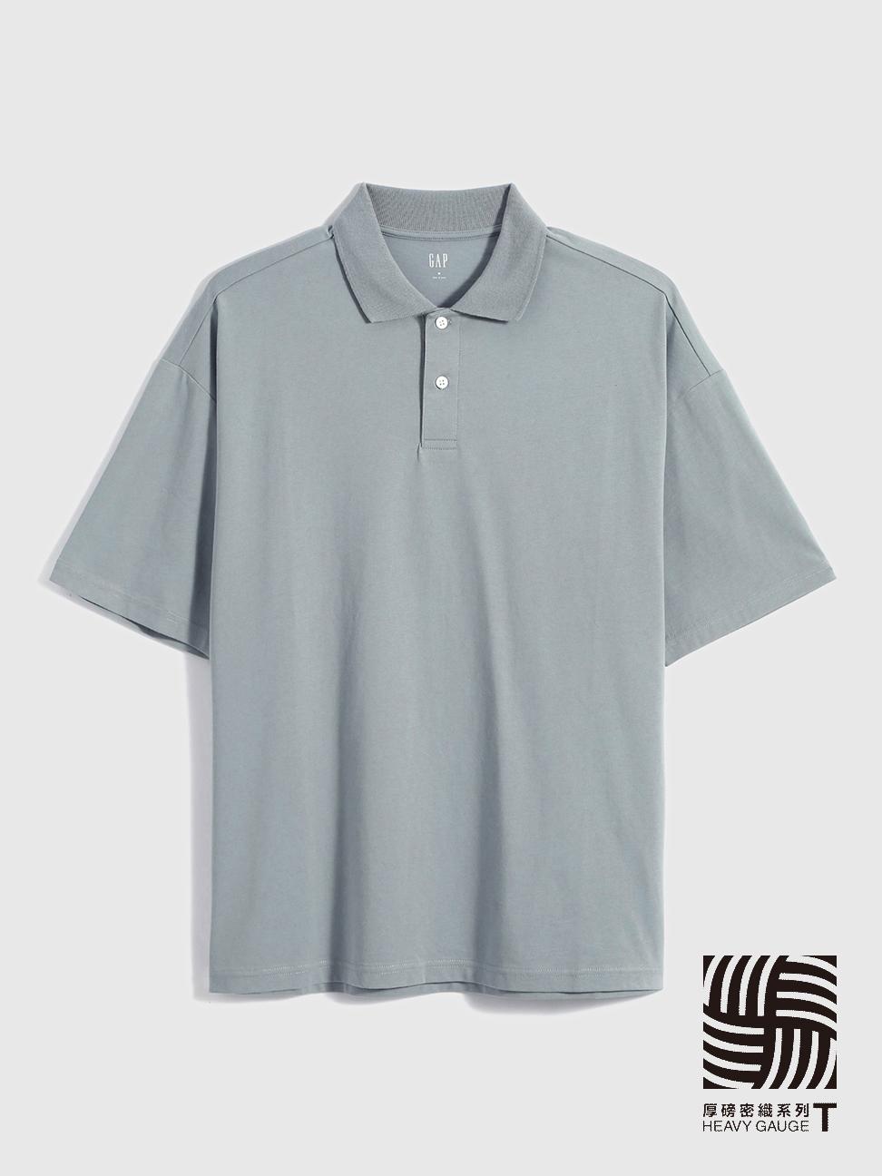 男裝 厚磅密織系列復古休閒寬鬆純棉POLO衫