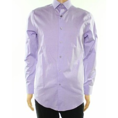 Alfani  ファッション ドレス Alfani NEW Purple Mens Size 14 1/2 Textured Slim Fit Dress Shirt