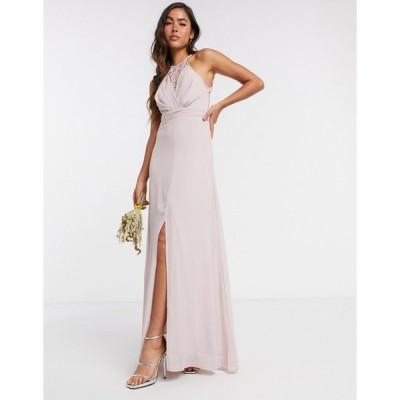 ティエフエヌシー レディース ワンピース トップス TFNC bridesmaid wrap lace maxi dress in pink Pink