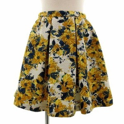 【中古】ジルスチュアート JILL STUART スカート ひざ丈 フレアー 花柄 グレー ネイビー ベージュ 黄 0 レディース