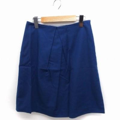【中古】デミルクス ビームス Demi-Luxe BEAMS スカート 台形 ひざ丈 無地 シンプル 綿 36 ブルー 青 /FT39 レディース