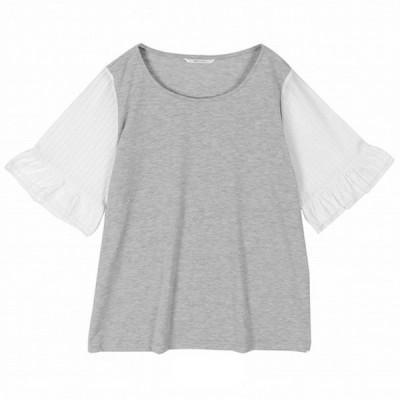 Tシャツ カットソー プルオーバー レディース ギャザー袖カットソープルオーバー ネイビー
