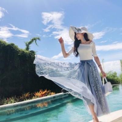ふんわり シフォン のお嬢様スタイル♪ ウエストリボン チュール ロングスカート【0066】