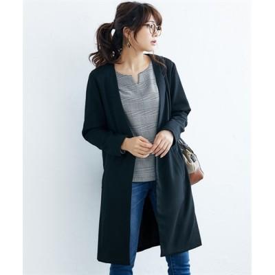ノーカラーライトコートジャケット(セットアップ対応) (コート)(レディース)Coat