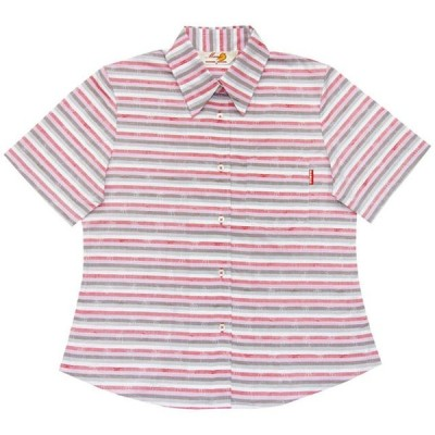 かりゆしウェア(沖縄アロハシャツ)レディース MANGO PLUS 先染めストライプヤシ レギュラーカラー ピンク