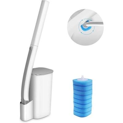 Eyliden トイレブラシ クリーナー トイレ掃除ブラシ 収納ケース付き 本体 取り替え式 洗剤付 取替8個 トイレ用 本体 トイレ ブラシ バスボ