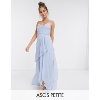 エイソス ASOS Petite レディース ワンピース キャミワンピ ワンピース・ドレス ASOS DESIGN Petite soft layered cami maxi dress in soft blue ソフトブルー