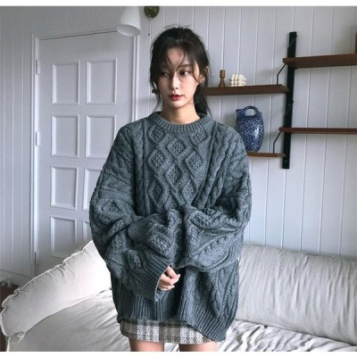 ざっくり アラン編み ゆったりニット ゆる可愛コーデに fsk0105