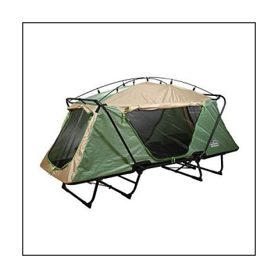 Kamp-Rite Oversize Tent Cot Folding Outdoor Personal Elevated Camping Hiking Sleeping Bed and Chair, Green and Tan[並行輸入品]