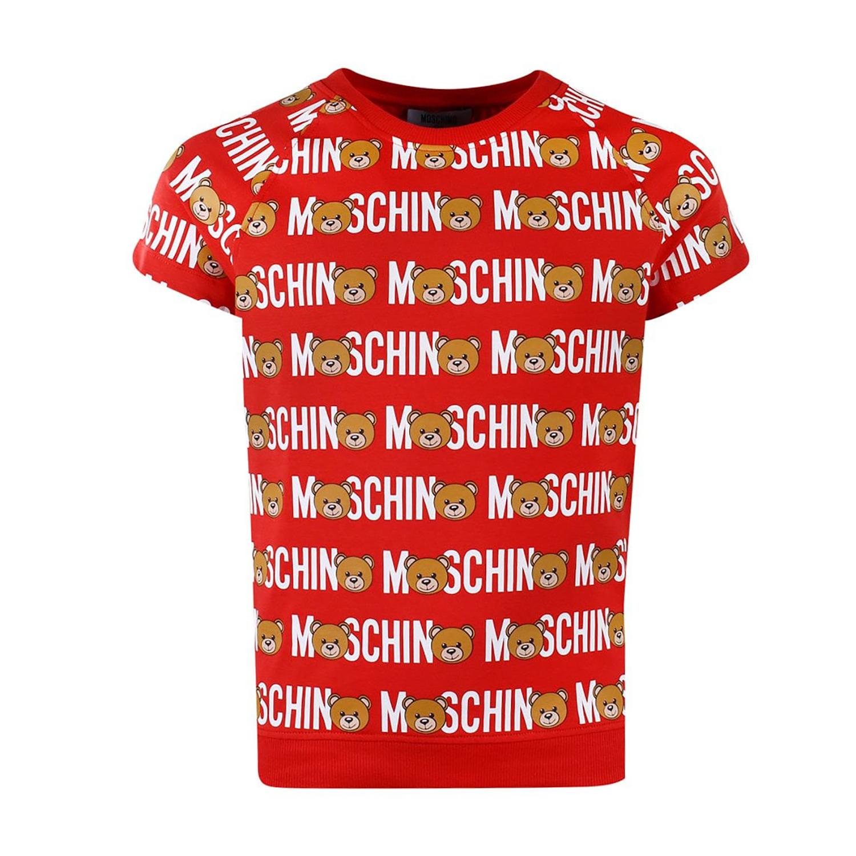 MOSCHINO兒童 紅色印花小熊 短袖上衣