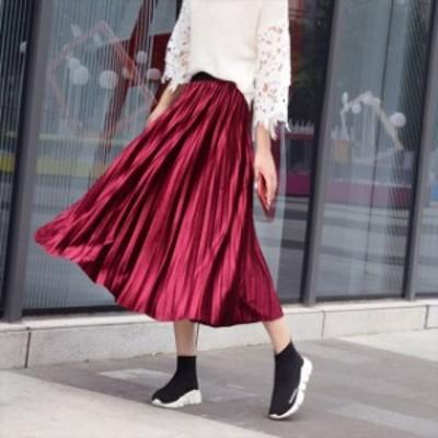 スカート ベルベット プリーツ Aライン フレア ミモレ丈 ロング フェミニン カラー ウエストゴム 大きいサイズ ゆったり 体型カバー カジ