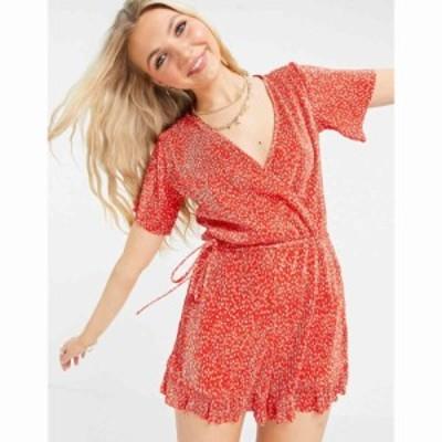 プルandベアー PullandBear レディース オールインワン ショート ワンピース・ドレス wrap front playsuit in red floral print レッド