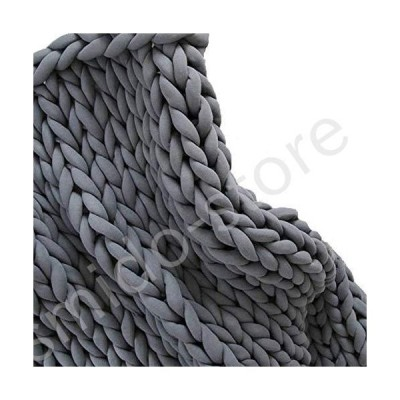 新品未使用!!送料無料!!Handmade Vegan Chunky Knit Blanket,Braid Cotton Tube Yarn Blanket,Dark Grey Arm Knit Blanket,Machine Washable
