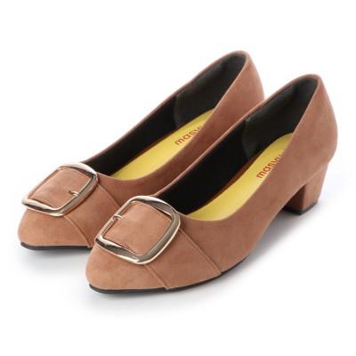 マシュガール masyugirl 【4E/幅広ゆったり・大きいサイズの靴】 アーモンドトゥローヒールバックルパンプス (オーク) SOROTTO